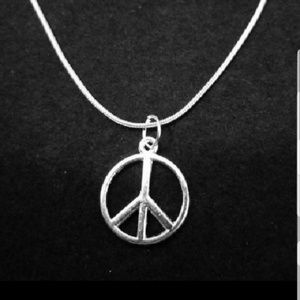 "Peace Sign 22""Inch \.925 Sterling Silver Necklace"